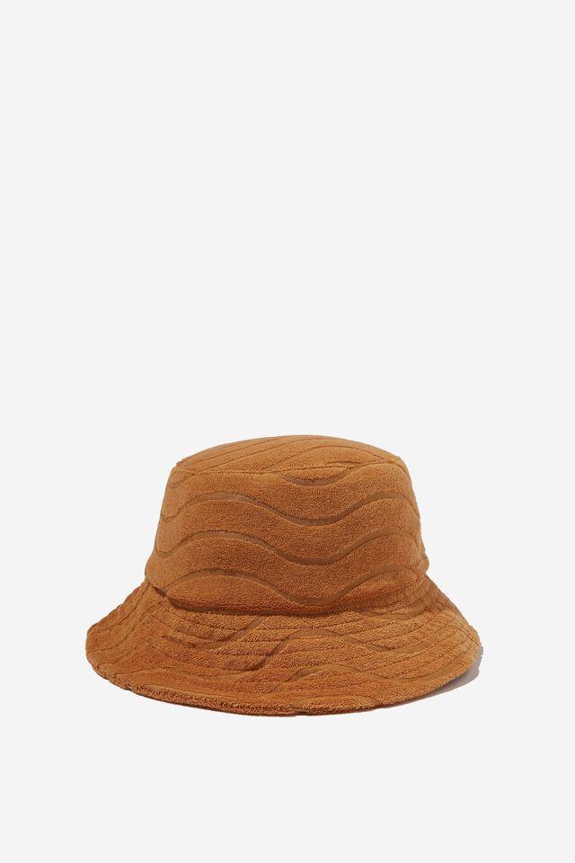 Terry Bianca Bucket Hat, BRONZED BROWN WAVE TERRY