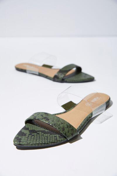 Pia Point Toe Slide, GREEN FAUX SNAKE