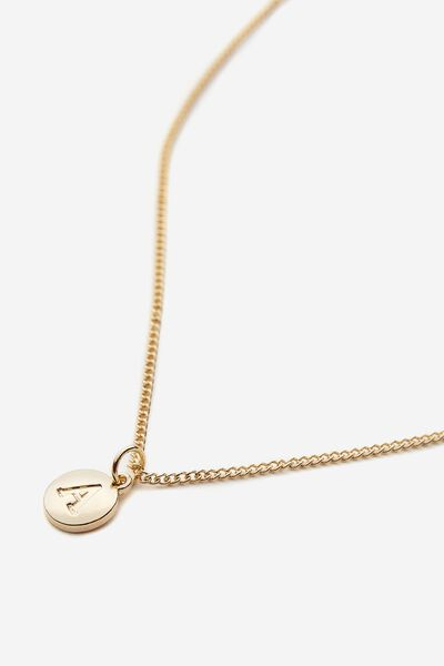 Letter Charm Necklace, GOLD A