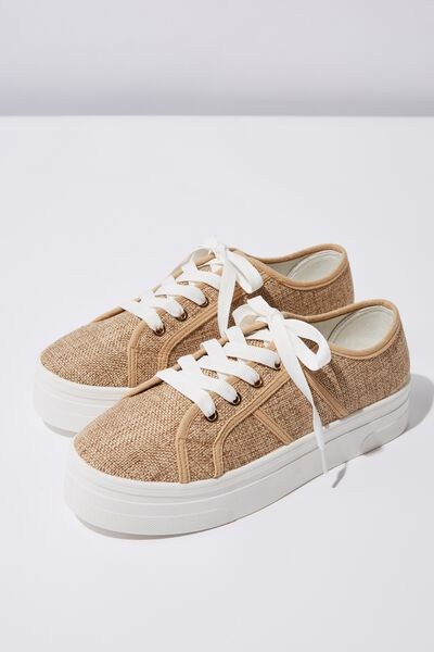 Willow Platform Sneaker, NATURAL LINEN