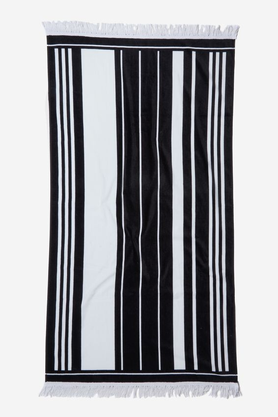 Bondi Rectangle Towel, B&W VERTICAL STRIPE