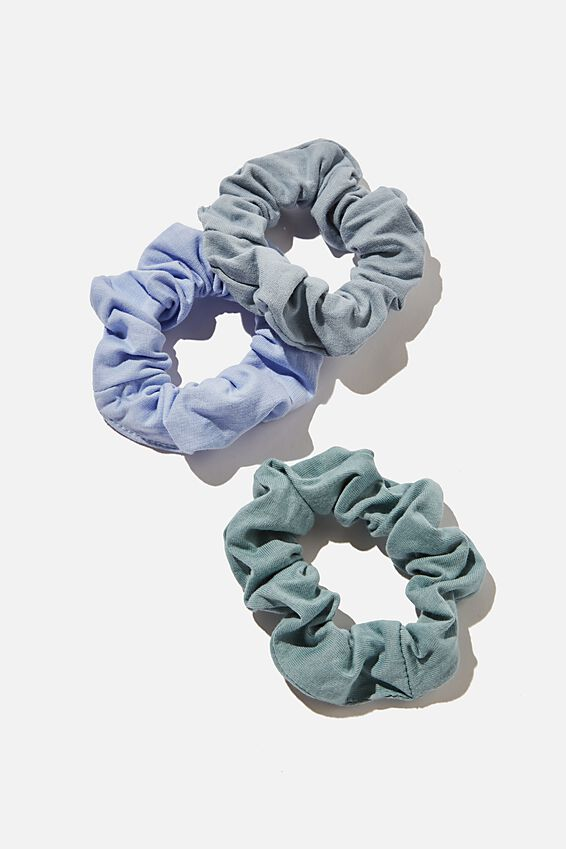 3Pk Scrunchies, RECYCLED WASHED BLUE