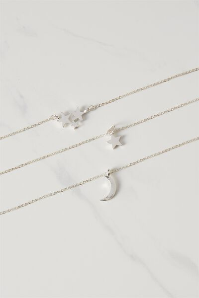 Celeste Multi Layer Chain Necklace, SILVER