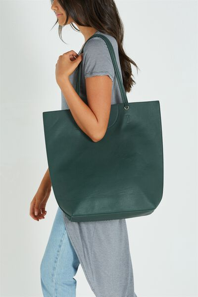 Textured Essential Tote, JUNGLE GREEN