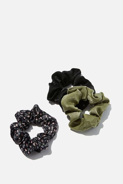 3Pk Scrunchies, KHAKI SATIN TRIO
