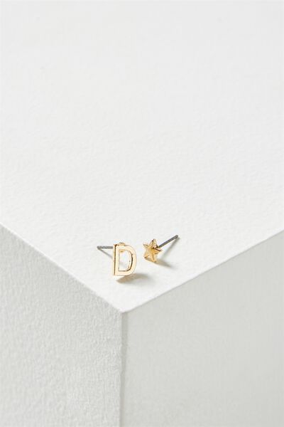 Alpha Stud Earring, GOLD - D