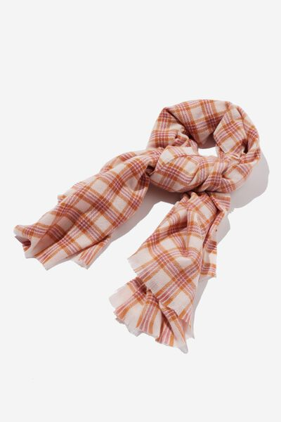 Millie Mid Weight Scarf, SOFT PINK KATYA CHECK