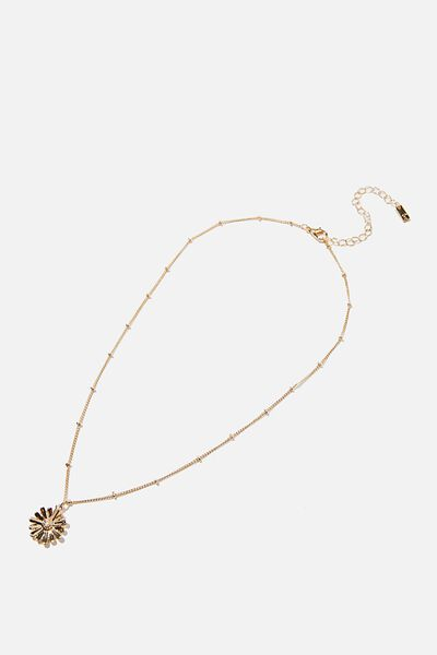 Reloved Pendant Necklace, GOLD DAISY
