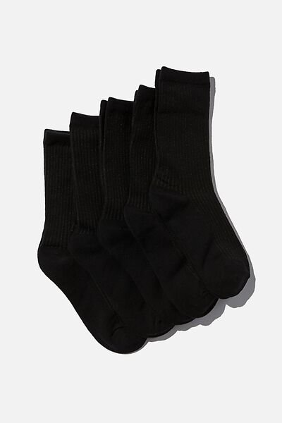 5Pk Everyday Rib Sock, BLACK