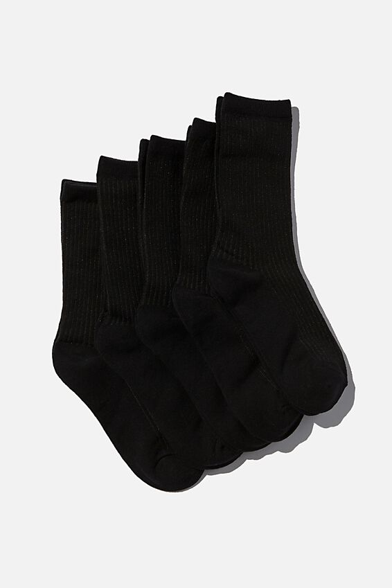 5Pk Everyday Rib Sock, BLACK