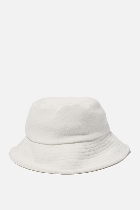 Bianca Bucket Hat, WHITE TERRY