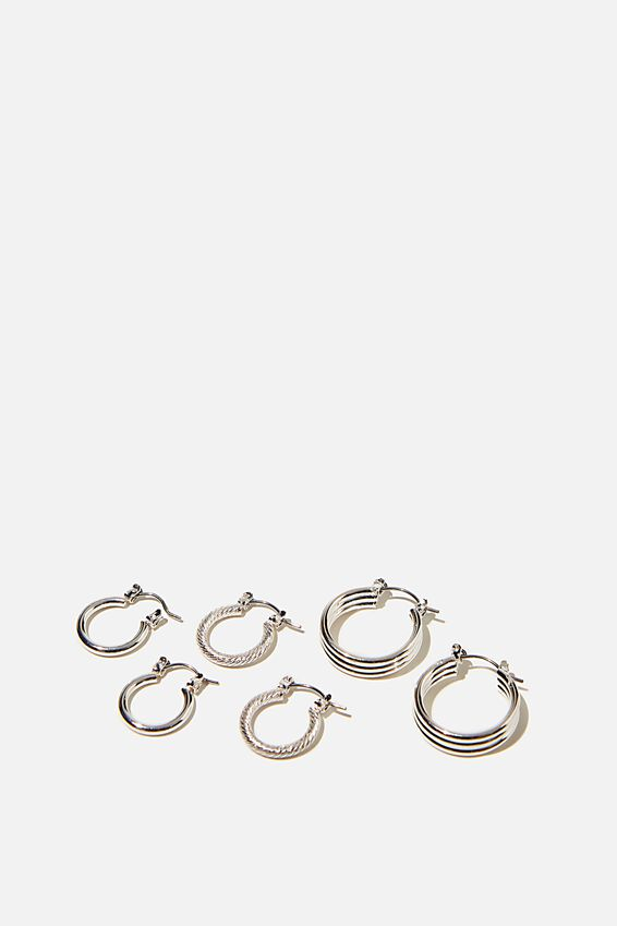 3Pk Luxe Layers Hoops, SILVER TEXTURE