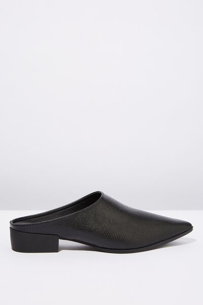 Stella Point Mule, BLACK REPTILE EMBOSS PU