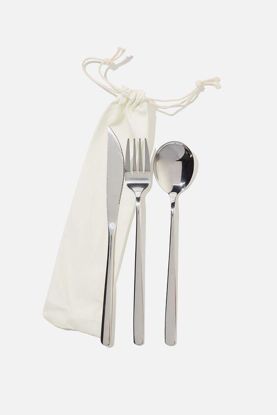 Reusable Cutlery Set, NATURAL/SILVER