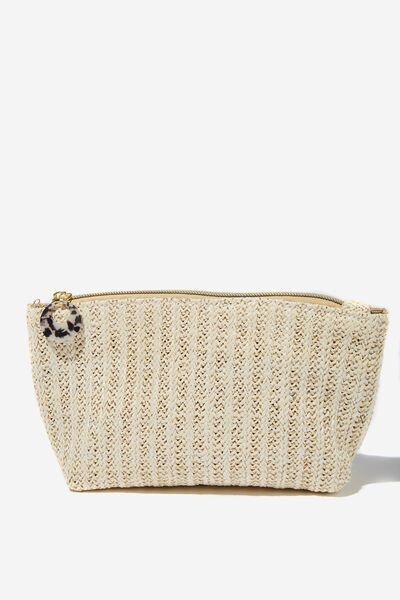 Body Home Spa | Pamper Pouch Cosmetic Case, WOVEN GOLD FLECK