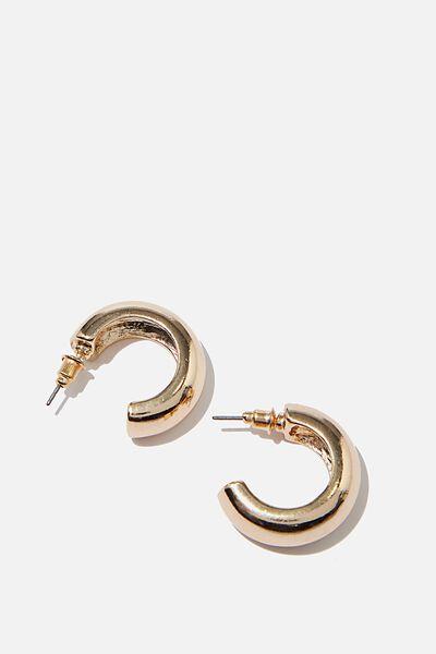 Luxe Layers Medium Shiny Hoop, GOLD