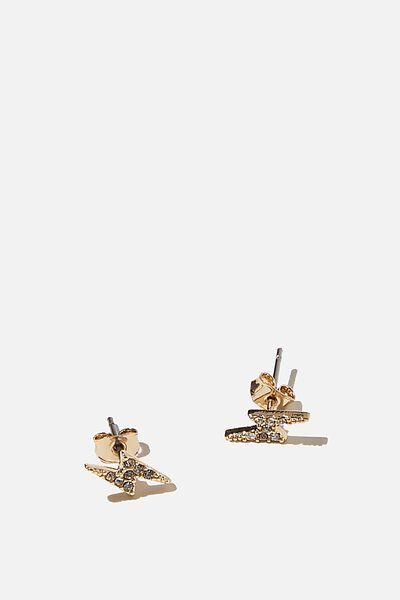 Premium Stud Earrings, LIGHTNING GOLD PLATED