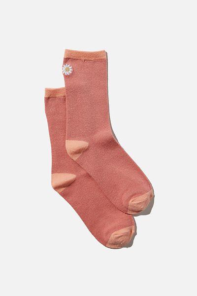 Carrie Crew Sock, PINK GRAPEFRUIT DAISY