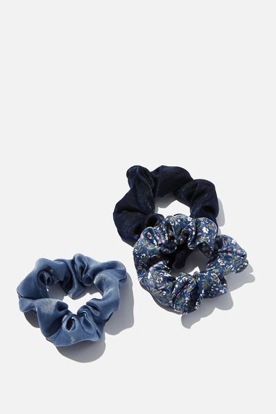 3Pk Scrunchies, BLUE SATIN TRIO