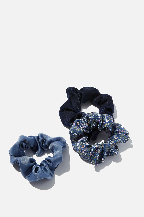3Pk Scrunchies, BLUE SATIN TRIO