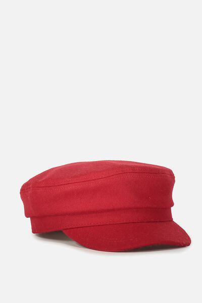 Bailey Baker Boy Cap, FIREY RED WOOL FELT