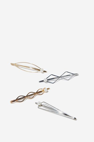 Stamp Shapes Hard Hair Set, GOLD/SILVER/PEARL