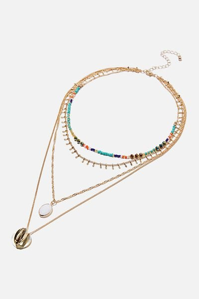 Sunset At Bondi Multi Layer Necklace, MULTI/ GOLD