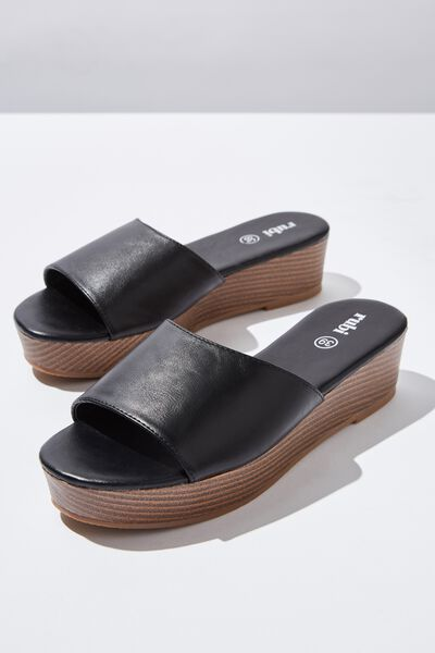 Phoebe Flatform Sandal, BLACK PU