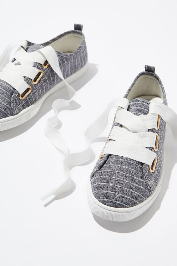 Penelope Lace Up Plimsoll, NAVY WOVEN STRIPE