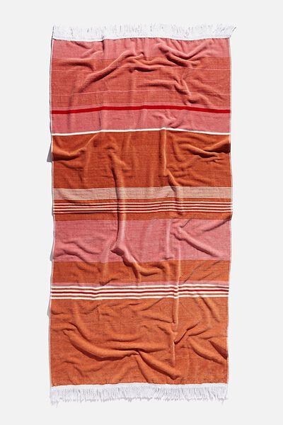 Bondi Rectangle Towel, CARAMEL FORESHORE STRIPE