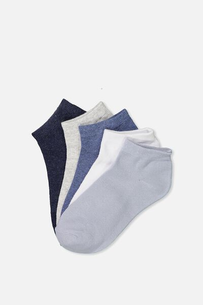 5Pk Ankle Sock, NAVY/GREY/BLUE