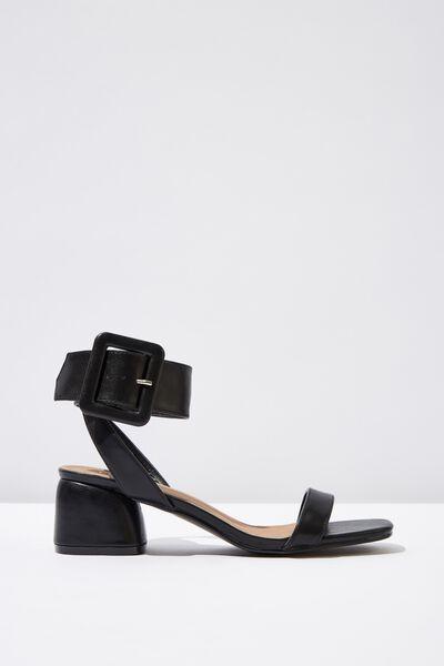 Belle Buckle Sandal, BLACK SMOOTH