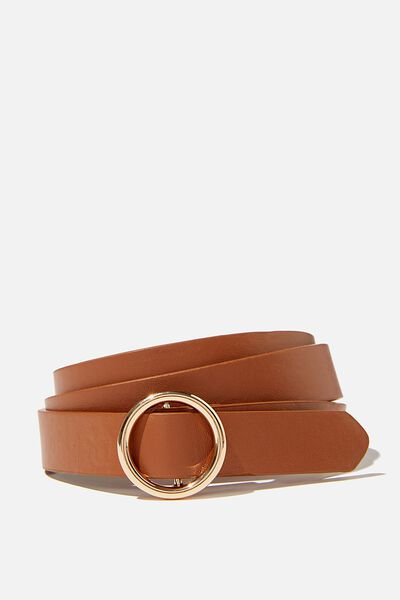 Round About Buckle Belt, TAN