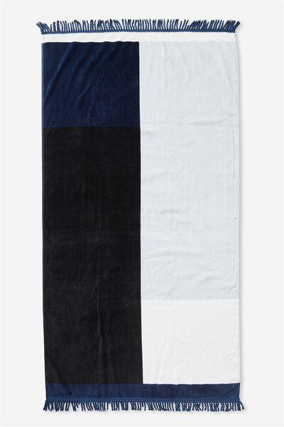 Love A Classic Towel, NAVY COLOUR BLOCK