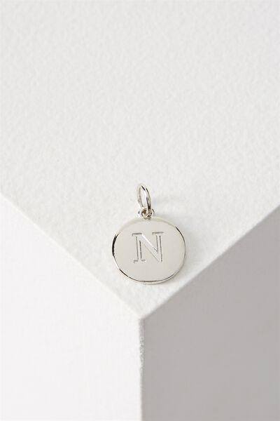 Letter Flat Pendant Charm, SILVER - N