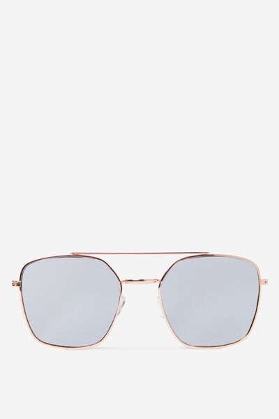 Lucinda Metal Pilot Sunglasses, S.GOLD/SMOKE