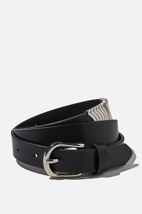 Stevie Metal Buckle Belt, BLACK/SILVER