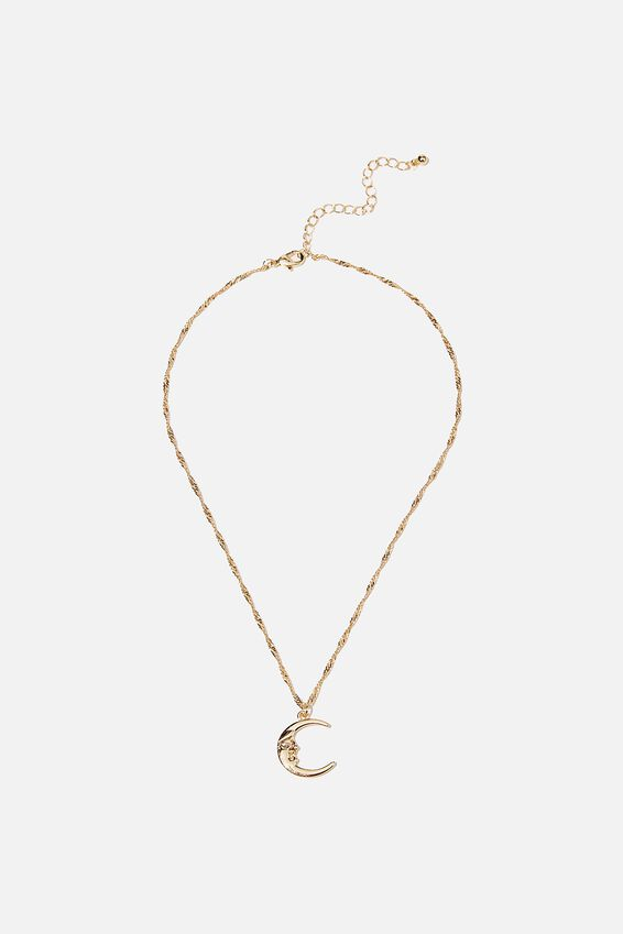 Treasures Short Pendant Necklace, GOLD MOON