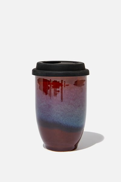 Double Walled Ceramic Travel Cup, DARK REACTIVE