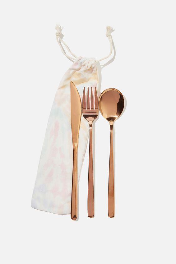 Reusable Cutlery Set, MULTI TIE DYE/ROSE GOLD