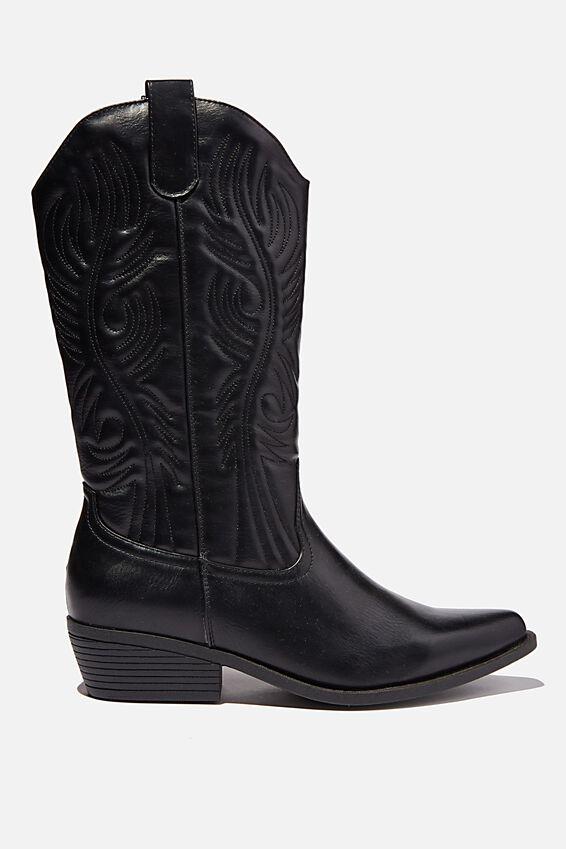 Devon Tall Western Boot, BLACK SMOOTH