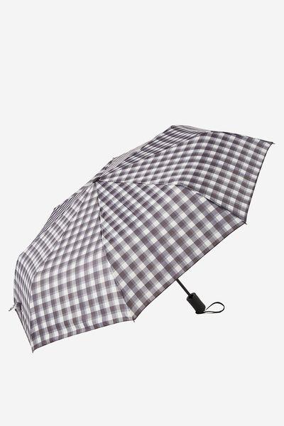 Compact Umbrella, BLACK WHITE GINGHAM
