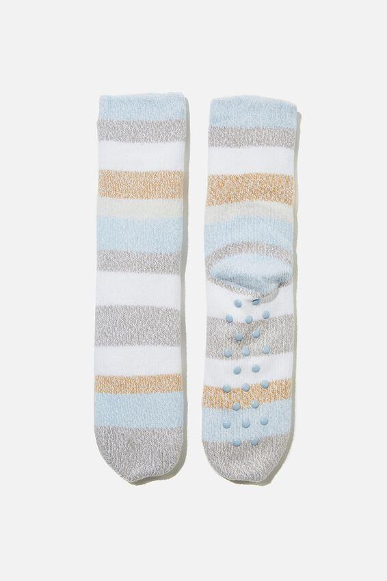 Coc Loungin Round Sock, BOLD STRIPE DUSK BLUE