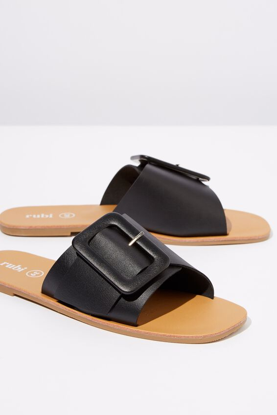 Asymmetric Buckle Slide, BLACK SMOOTH PU