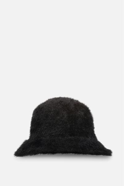 Fluffy Bucket Hat, BLACK