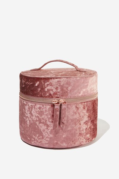 Sophia Round Cosmetic Case, DUSTY ROSE