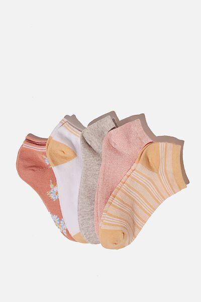 5Pk Ankle Sock, BLUSH DAISY MIX