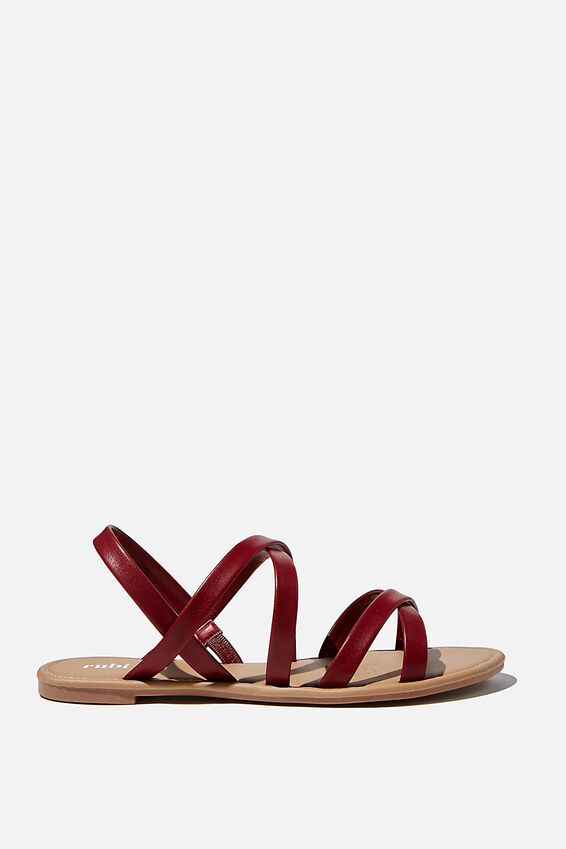 Lucy Strappy Slingback Sandal, DEEP RED PU