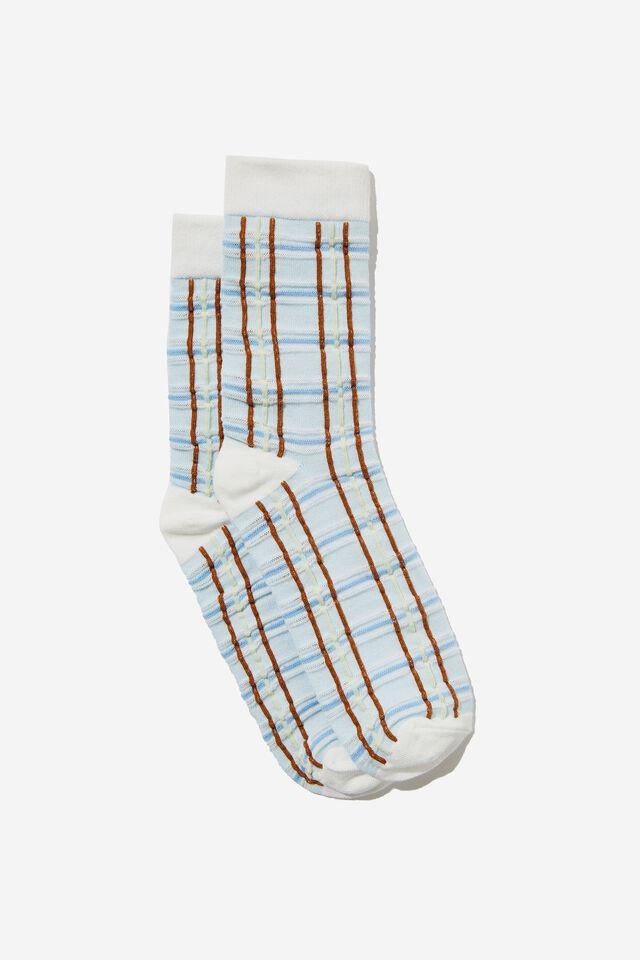 Check Textured Sock, SKYLIGHT CHECK