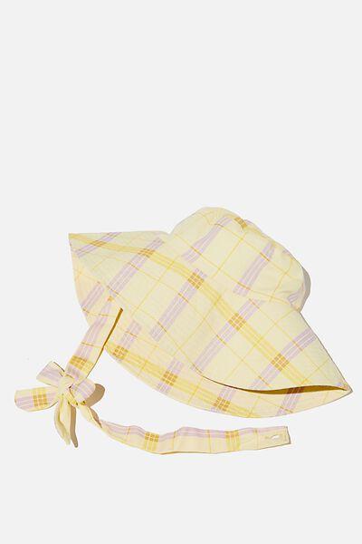 Zahra Wide Brim Sun Hat, LEMON BLAIR CHECK